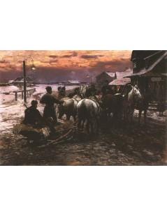 Tytuł: Wyjazd na polowanie o świcie, Autor: Alfred Wierusz Kowalski
