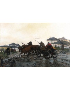 Tytuł: Błotnista droga, Autor: Józef Chełmoński