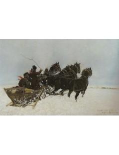 Tytuł: Czwórka w zaspach, Autor: Józef Chełmoński