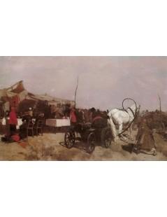 Tytuł: Targ wiejski, Autor: Józef Chełmoński