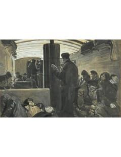 Tytuł: W wagonie III klasy w Rosji, Autor: Józef Chełmoński