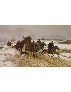 Tytuł: Wyjazd na polowanie, Autor: Józef Chełmoński