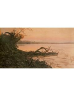 Tytuł: Zachód słońca. Jezioro Świteź, Autor: Józef Chełmoński