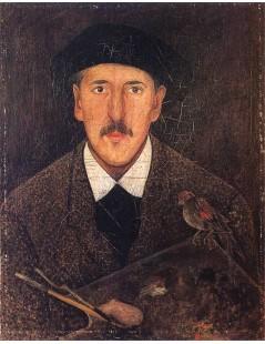Tytuł: Autoportret z paletą i ptaszkiem.jpg, Autor: Tadeusz Makowski