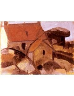 Tytuł: Domek z czerwonym dachem.jpg, Autor: Tadeusz Makowski
