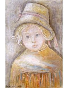 Tytuł: Dziewczynka w kapeluszu z czerwoną wstążką.jpg, Autor: Tadeusz Makowski