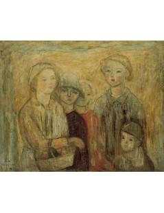 Tytuł: Grupa dzieci z koszykiem owoców, Autor: Tadeusz Makowski