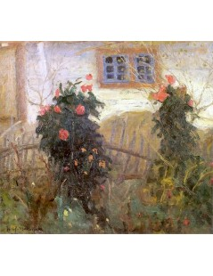 Tytuł: Kwiaty przed chatą.jpg, Autor: Tadeusz Makowski