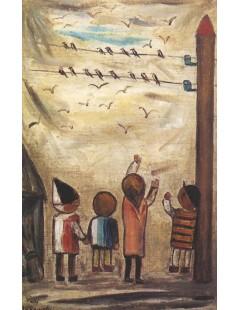 Tytuł: Odlot jaskółek, Autor: Tadeusz Makowski