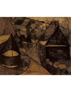 Tytuł: Pejzaż bretoński ze studnią, Autor: Tadeusz Makowski