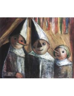 Tytuł: Troje dzieci pod chorągiewkami, Autor: Tadeusz Makowski