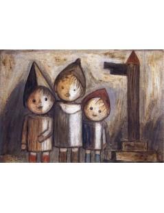 Tytuł: Troje dzieci pod drogowskazem, Autor: Tadeusz Makowski