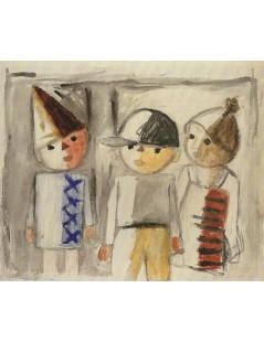 Tytuł: Troje dzieci, Autor: Tadeusz Makowski