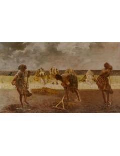 Tytuł: Trzy grabiące kobiety, Autor: Jacek Malczewski