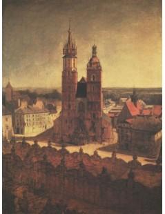 Tytuł: Widok z Wieży Ratuszowej na Rynek i kościół Mariacki w Krako, Autor: Jan Matejko