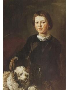 Tytuł: Portret syna artysty z psem, Autor: Piotr Michałowski