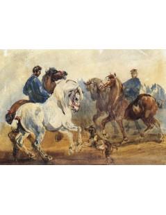 Tytuł: Stajenni z końmi i psem, Autor: Piotr Michałowski