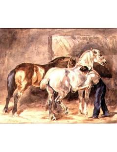 Tytuł: Stajenny i konie, Autor: Piotr Michałowski