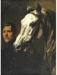 Tytuł: Stajenny trzymający konia za uzdę, Autor: Piotr Michałowski