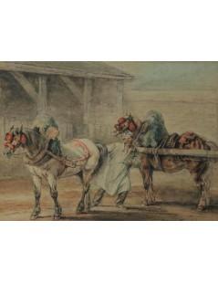 Tytuł: Zaprzęganie konia, Autor: Piotr Michałowski