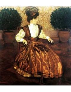 Tytuł: Portret żony (W laurowej sali), Autor: Józef Mehoffer