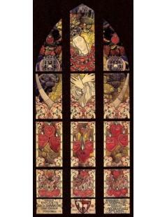 Tytuł: Projekt witraża z obrazem Matki Boskiej Ostrobramskiej, Autor: Józef Mehoffer