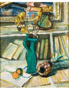 Tytuł: Martwa natura z kwiatami, zielonym dzbankiem i książkami, Autor: Zygmunt Menkes