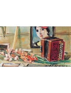 Tytuł: Martwa natura z portretem i akordeonem, Autor: Zygmunt Menkes