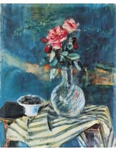 Tytuł: Róże w wazonie i pasiastą draperią, Autor: Zygmunt Menkes