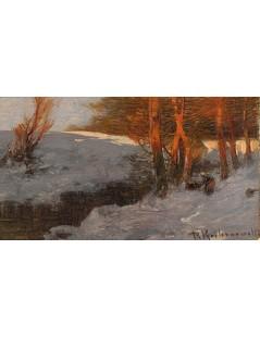 Tytuł: Pejzaż zimowy, Autor: Roman Kochanowski