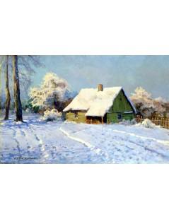 Tytuł: Chata w śniegu, Autor: Wiktor Korecki