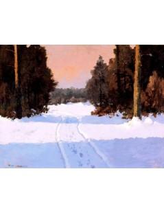 Tytuł: Droga leśna zimą, Autor: Wiktor Korecki