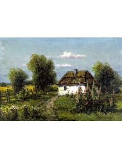Tytuł: Malwy przed chatą, Autor: Wiktor Korecki