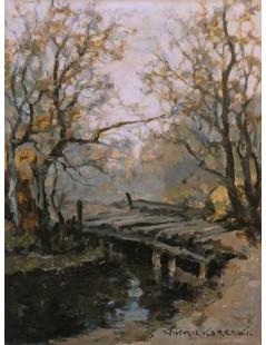 Tytuł: Mostek w jesiennym lesie, Autor: Wiktor Korecki
