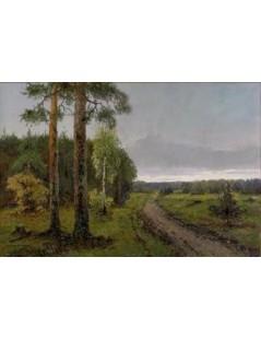 Tytuł: Pejzaż leśny, Autor: Wiktor Korecki