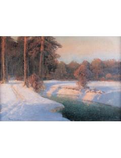 Tytuł: Pejzaż śnieżny o zachodzie, Autor: Wiktor Korecki