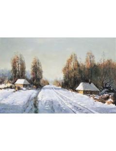 Tytuł: Pejzaż zimowy z chatami przy leśnej drodze, Autor: Wiktor Korecki