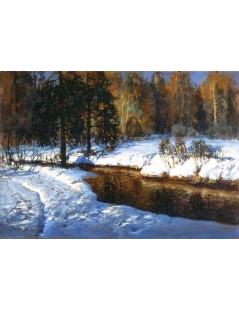 Tytuł: Pejzaż zimowy z potokiem, Autor: Wiktor Korecki