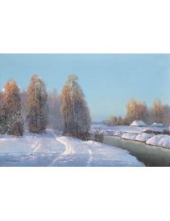 Tytuł: Pejzaż zimowy z rzeką i chatami, Autor: Wiktor Korecki