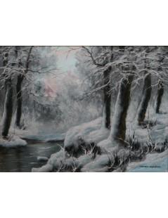 Tytuł: Pejzaż zimowy, Autor: Wiktor Korecki