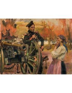Tytuł: Kanonier i dziewczyna, Autor: Wojciech Kossak