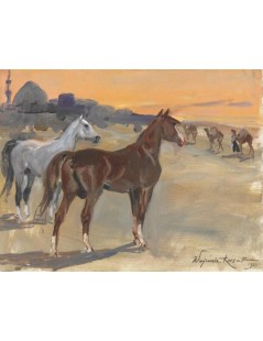 Tytuł: Konie arabskie, Autor: Wojciech Kossak