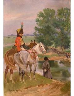 Tytuł: Napoleon nad brzegiem Niemna, Autor: Wojciech Kossak