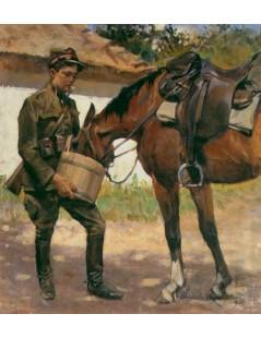 Tytuł: Pojenie konia, Autor: Wojciech Kossak
