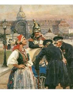 Tytuł: Przed Pałacem Inwalidów w Paryżu, Autor: Wojciech Kossak