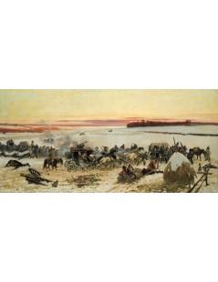Tytuł: Przejście wojsk Napoleona przez Berezynę, Autor: Wojciech Kossak