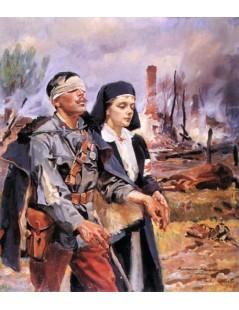 Tytuł: Ranny żołnierz, Autor: Wojciech Kossak