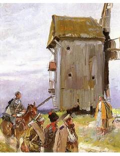 Tytuł: Spotkanie przy wiatraku, Autor: Wojciech Kossak