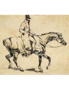 Tytuł: Studium jeźdźca na koniu, Autor: Wojciech Kossak