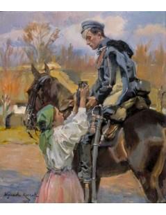Tytuł: Ułan i dziewczyna, Autor: Wojciech Kossak